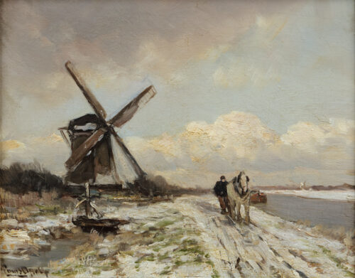 Louis Apol-A winter landscape with a farmer and a horse and a windmill along a river