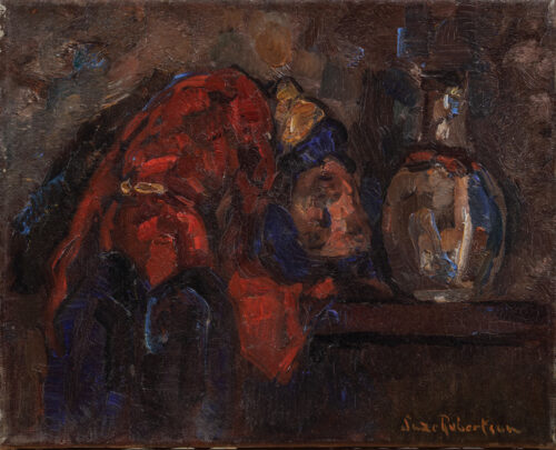 Suze Robertson - Still life with a vase and a rag doll on a ledge