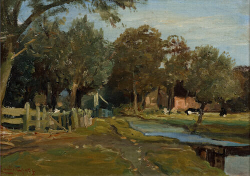 Louis Apol - A summer landscape with cows near a fence