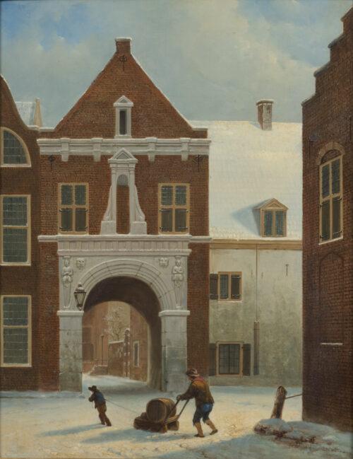 Hendrik van Oort-View of the Southside of the Paulusporch-Utrecht-between the Lange Nieuwstraat and the Korte Nieuwstraat in winter
