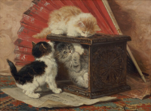 Henriette Ronner-Kittens playing