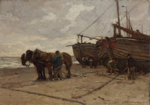 Johannes Evert Hendrik Akkeringa-Scheveningse Bomschuiten op het strand