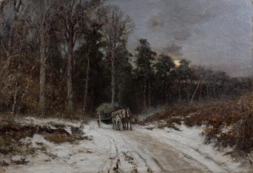 Louis Apol-Houtsprokkelaars op besneeuwd bospad