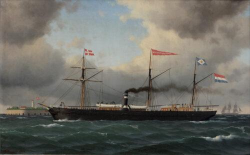 Carl Emil Baagoe-Stoomschroefschip Willem de Derde nabij Fort Trekroner voor de havenmond van Kopenhagen