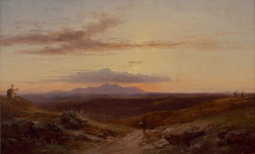 Carl Robert Kummer-Reiziger in heuvelachtig landschap nabij Sintra, Portugal, bij ondergaande zon