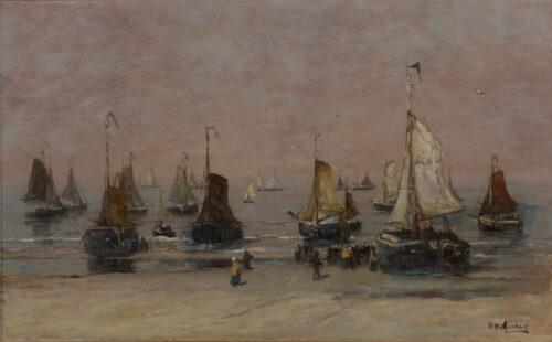 Hendrik Willem Mesdag - Bomschuiten en vissers op het strand Scheveningen